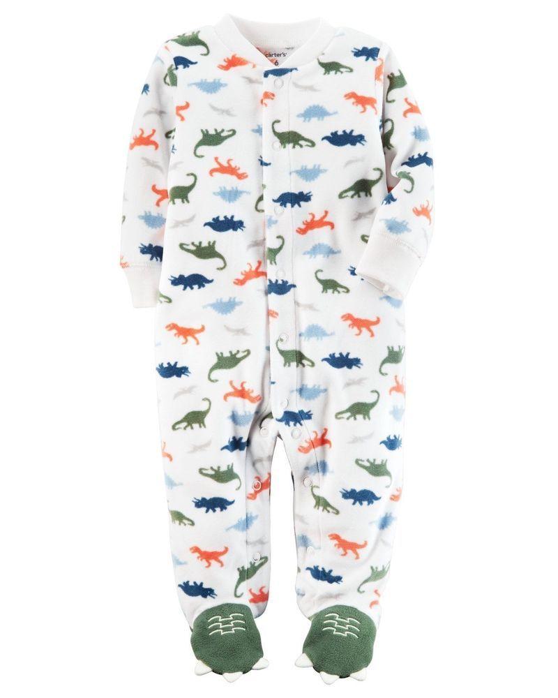a010bac96 New Carter's Fleece Sleep n Play Dinosaur Print Newborn 3m 6m 9m NWT Boys  Dino #Carters #OnePiece