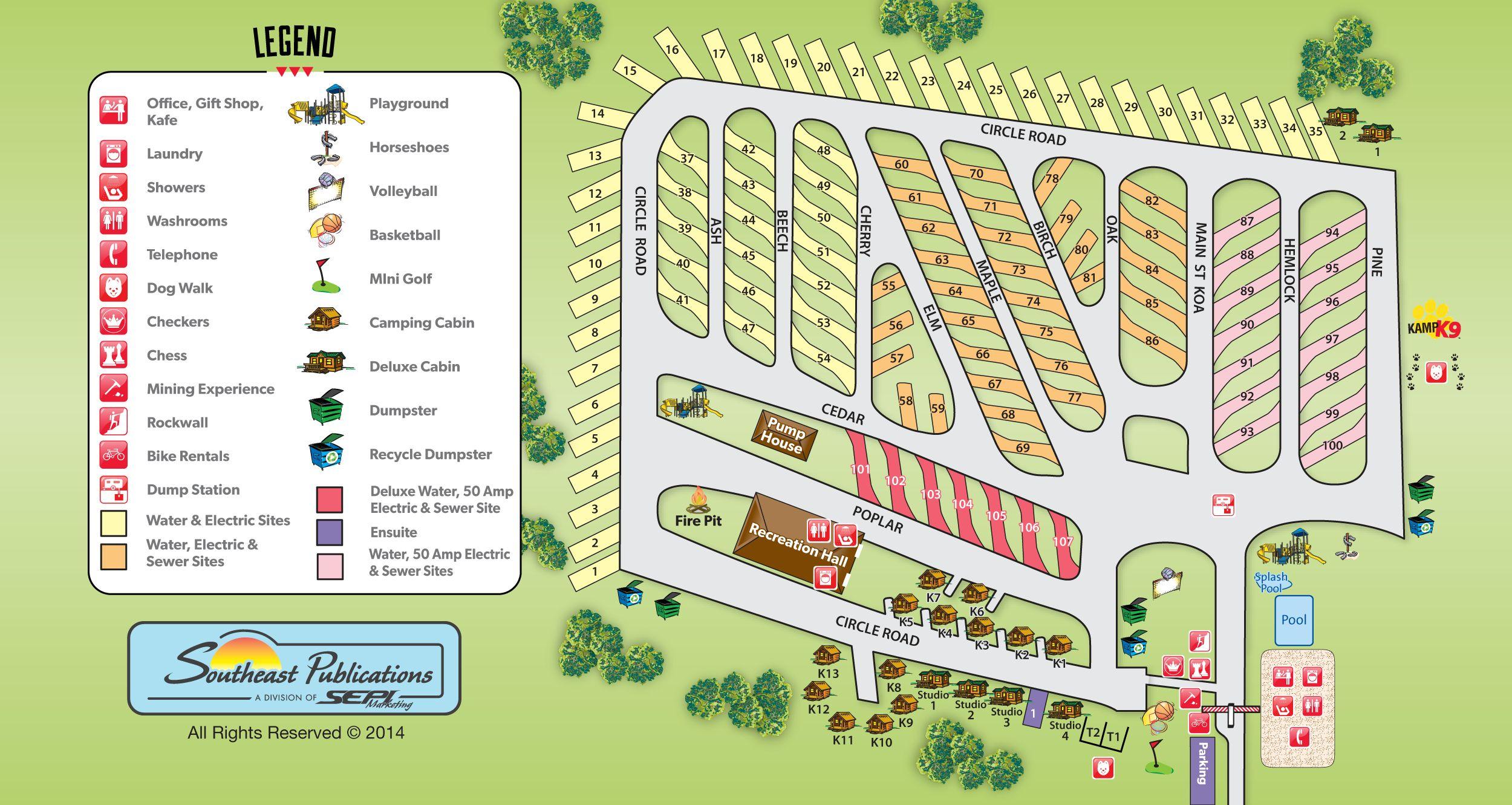 Map Of Koa Arizona.Toronto North Cookstown Koa Campground Site Map Camping