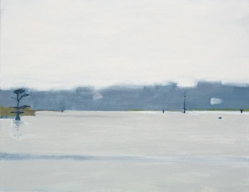 "Mac Ball, Fog on Hayes Pond, oil on canvas, 14x18""; 2015"