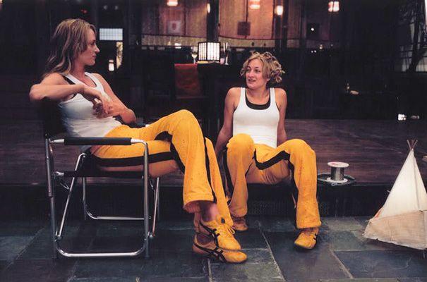 Uma Thurman And Stunt Double Zoe Bell On The Set Of Kill Bill | Stunt  doubles, Kill bill, Zoe bell