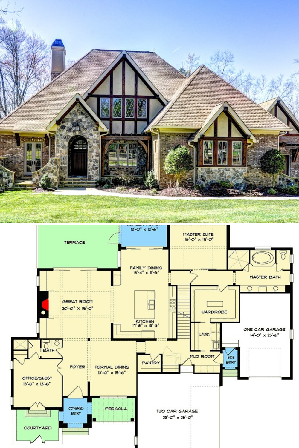 5 Bedroom Two Story Tudor Style Home With Optional Lower Level Floor Plan Tudor Style Homes Tudor House Exterior Mansion Floor Plan