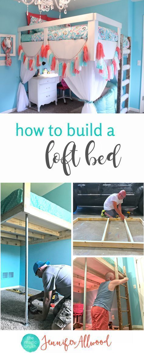 How to Build a Loft Bed for a Girls Bedroom is part of Kids bedroom DIY - We built a loft bed in my daughter's bedroom as part of her bedroom redesign  Here's how we did it and all of our DIY tips!