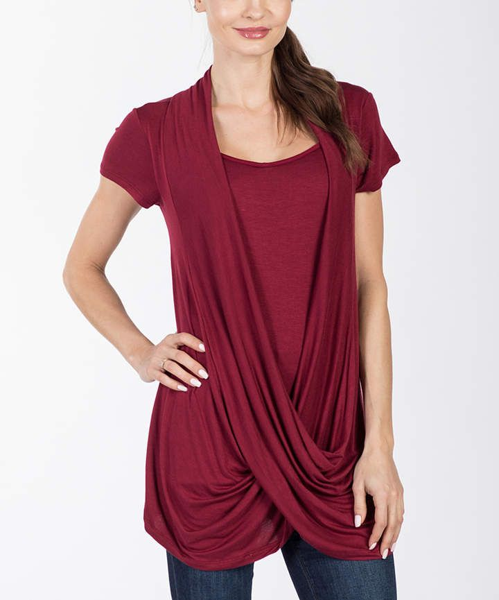 147b798b62747 Burgundy Drape Nursing Top   Pregnancy, Maternity & New Moms   Nursing tops,  Tops, Short sleeve dresses