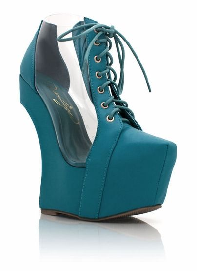 Cut-Out Heel Less Platforms in Teal