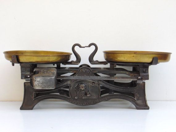 Antique Market Scale Cast Iron and Brass Kitchen by AdryVintage