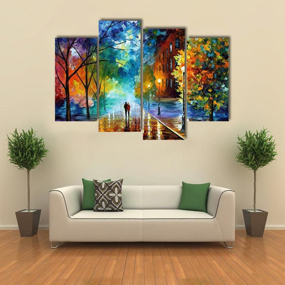 Beautiful abstract of couple walking in park multi panel