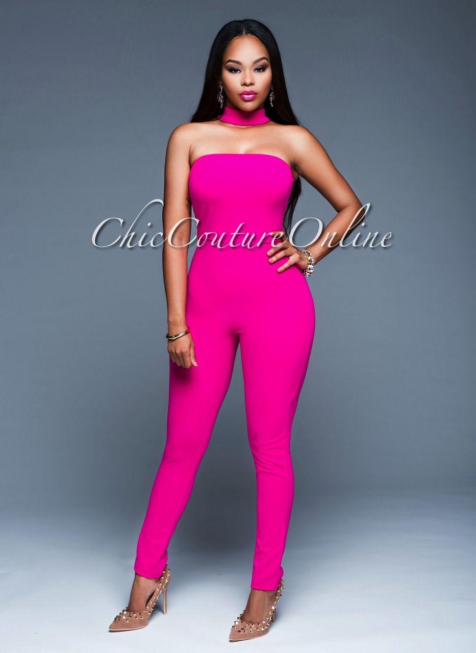 2c113b5ecd36 Chic Couture Online - Genesis Magenta Padded Choker Jumpsuit. (http   www