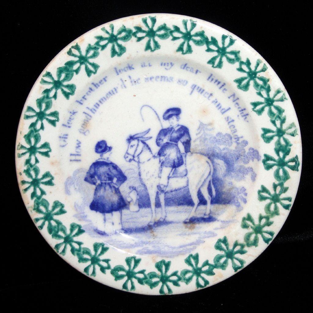 Toy Spongeware Spatter Transfer Child Horse Plate C1830 Staffordshire Rhyme Kids Tea Set Childrens Pottery Childrens Mugs