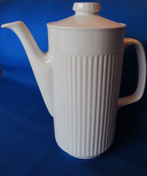 Johnson Brothers Athena White Ribbed Ironstone Coffee Pot Five Cup Capacity & Johnson Brothers Athena White Ribbed Ironstone Coffee Pot Five Cup ...