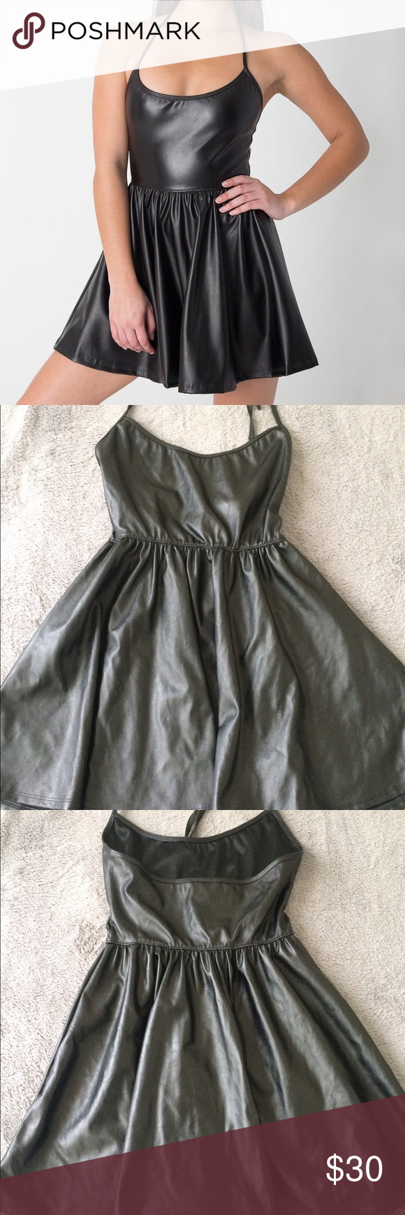 American Apparel Vegan Leather Figure Skater Dress Faux leather skater dress  from American Apparel. Halter style. NWT. Never worn. True to size. 13b6f6346