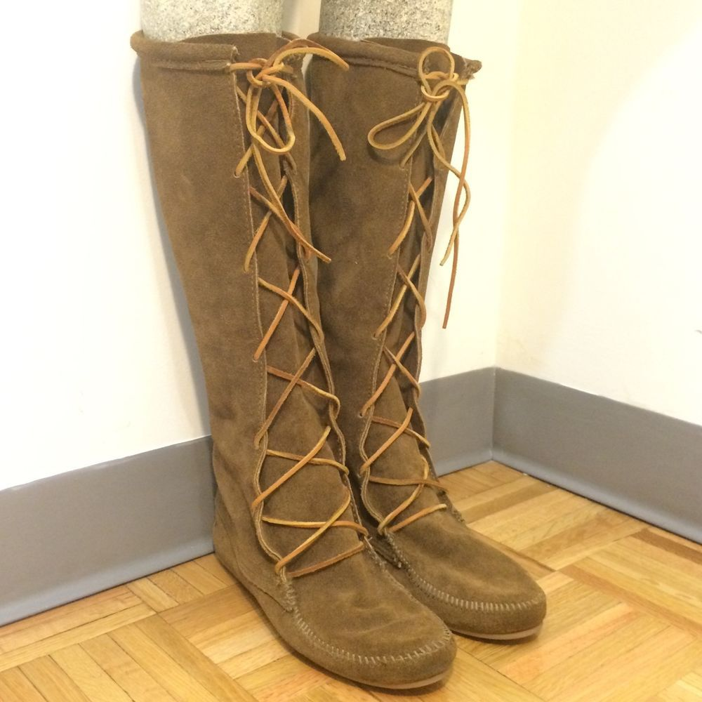 Minnetonka suede leather knee high tall lace up moccasin fringe boots - Nwob New Unworn Minnetonka Front Lace Knee High Moccasin Boots Usa Size 10 Women Minnetonkamoccasin