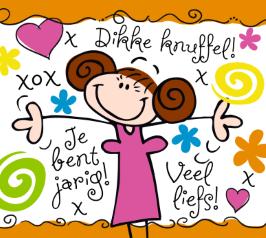 kaart jarig Hippy Chick kaart   dikke knuffel jij bent jarig | verjaardag  kaart jarig
