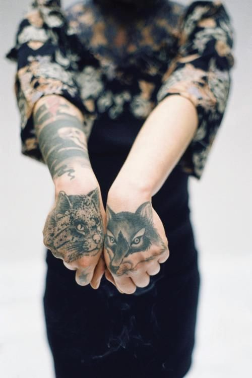 Cat and fox. Animal tattoos. #rasspink #inked
