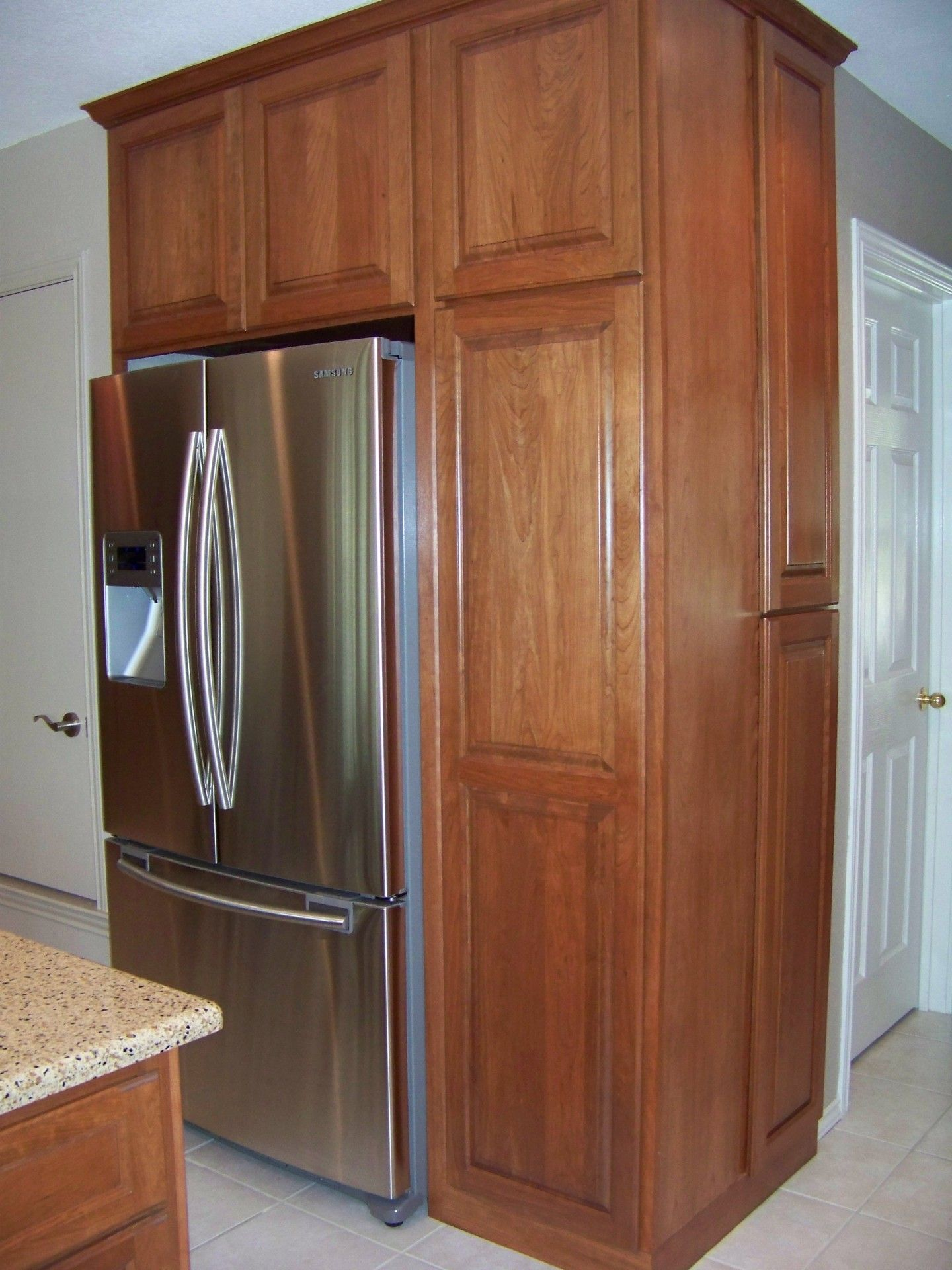Built In Kitchen Cabinets Lighting Above Table Refrigerator Cabinet Surround Traditional