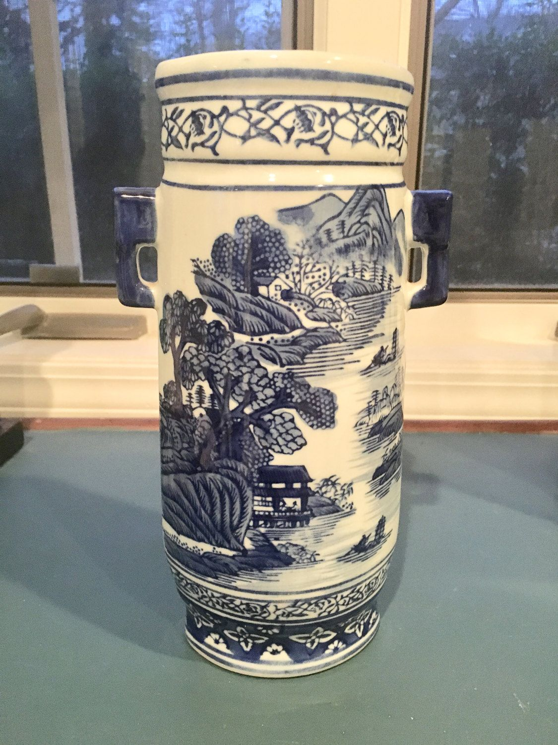Chinoiserie asian blue and white vase with handles ashley belle chinoiserie asian blue and white vase with handles ashley belle pagodas by beholdthedoor on reviewsmspy