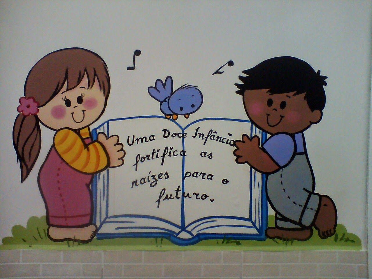 Muro Crian A Flores Feliz Desenho Pinturas Parede Escola
