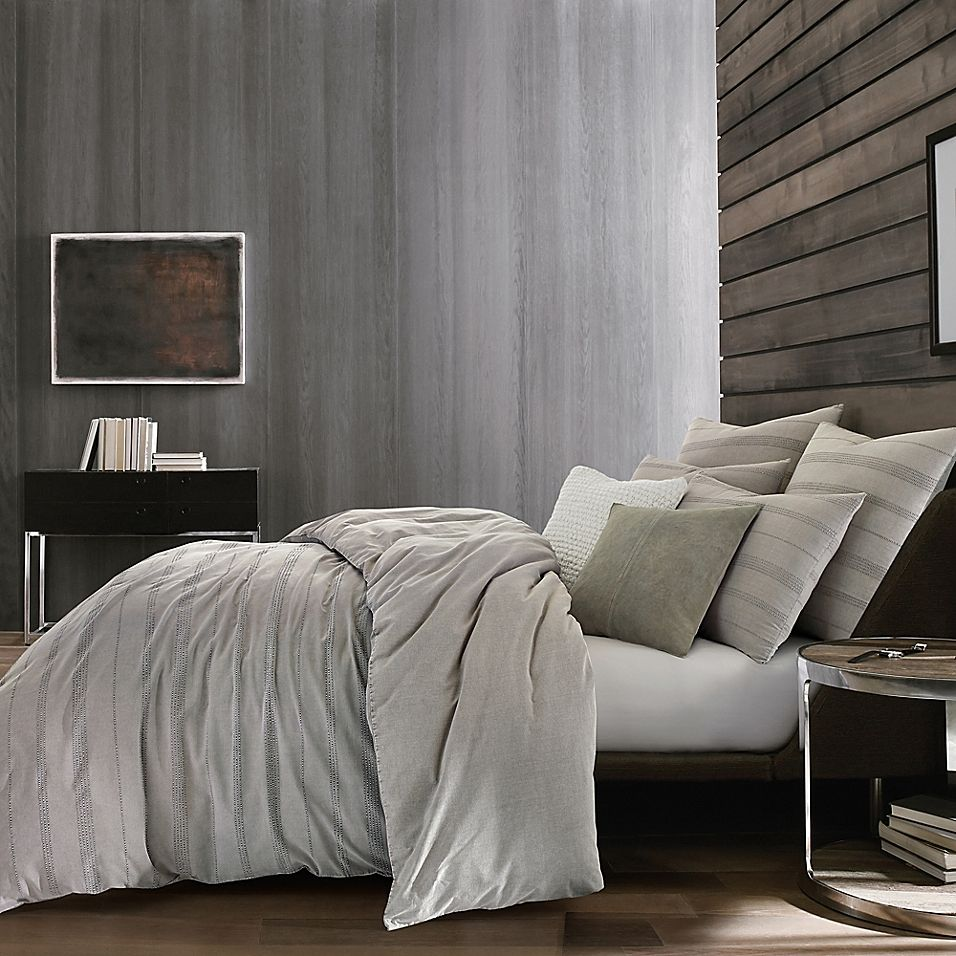 Kenneth Cole Thompson Full Queen Duvet Cover In Stone Bed