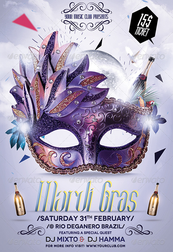Best  Mardi Gras Party Flyer Templates Psd  Best  Mardi Gras