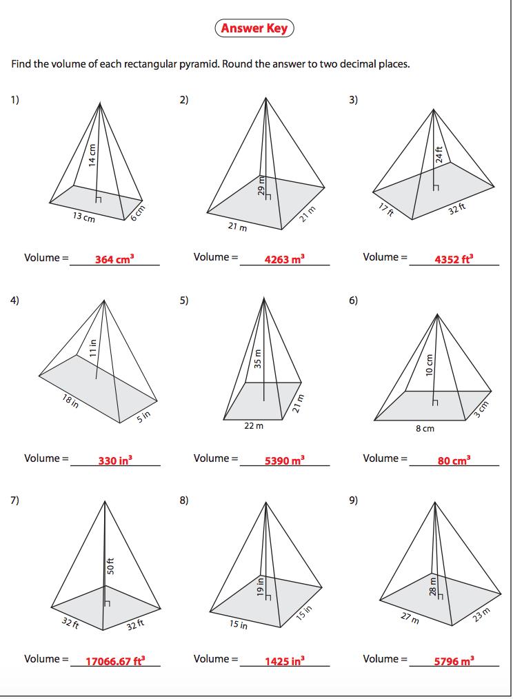 volume of pyramid worksheet resultinfos | Math methods ...
