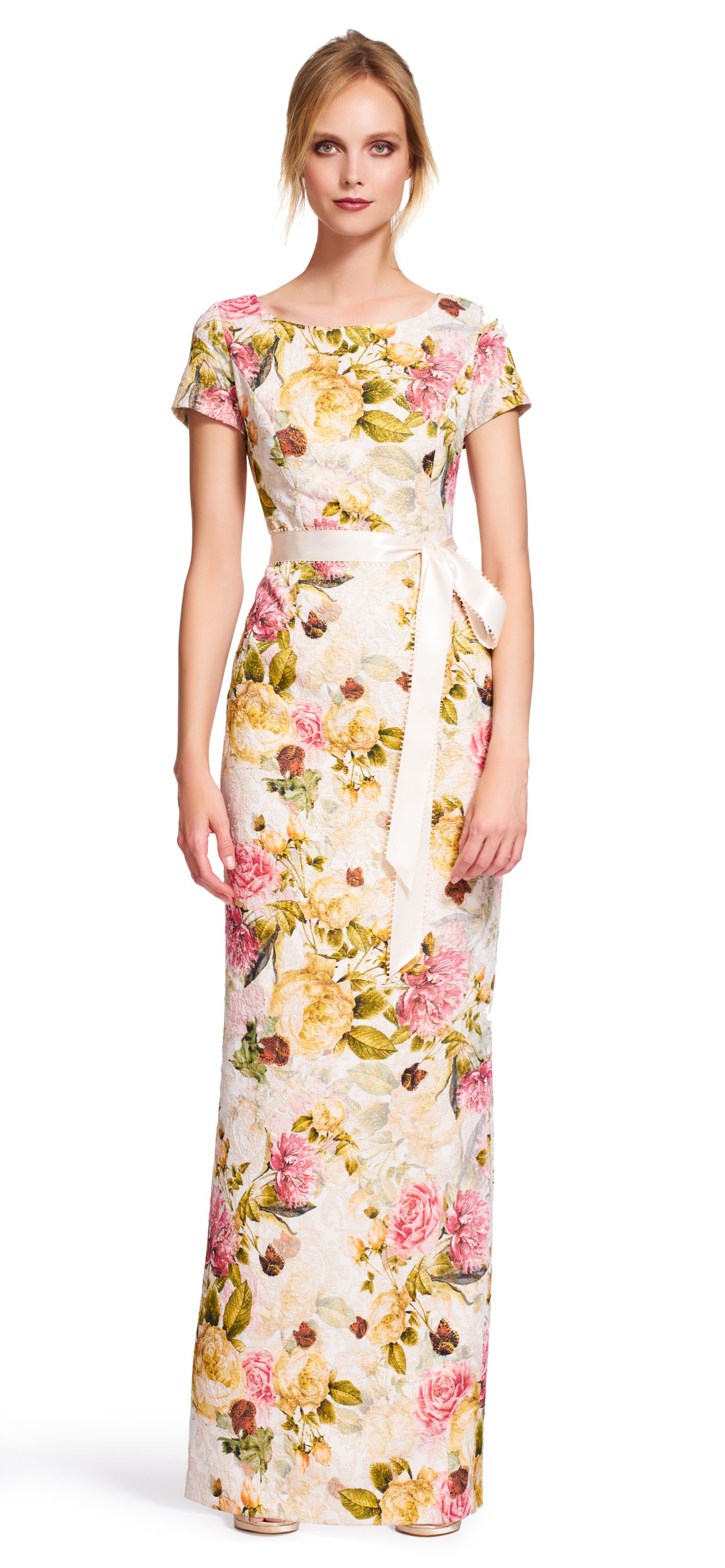 Short sleeve floral gown with tie sash my style pinterest