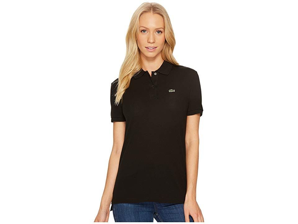 fd455140a9 Lacoste Short Sleeve Two-Button Classic Fit Pique Polo (Black) Women's  Clothing. Add a pop of color to your femme look with this stylish Lacoste  polo shirt.