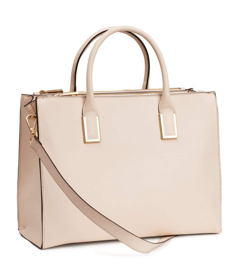 Pastel pink handbag with embossed faux leather, detachable ...