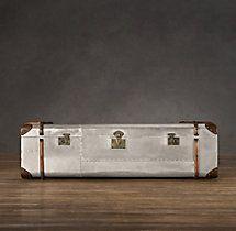 Richardu0027s Polished Aluminum Trunk Coffee Table Large