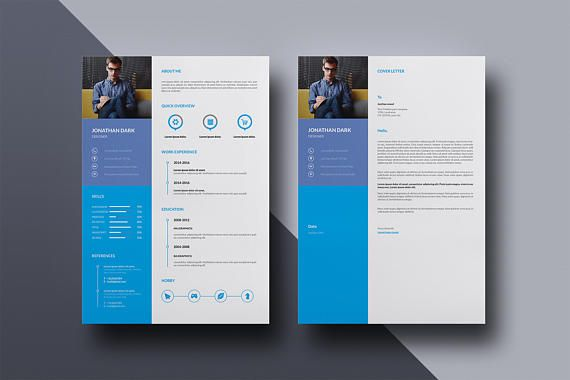 Clean Resume Template Creative Resume CV Design One Page - resume templates indesign