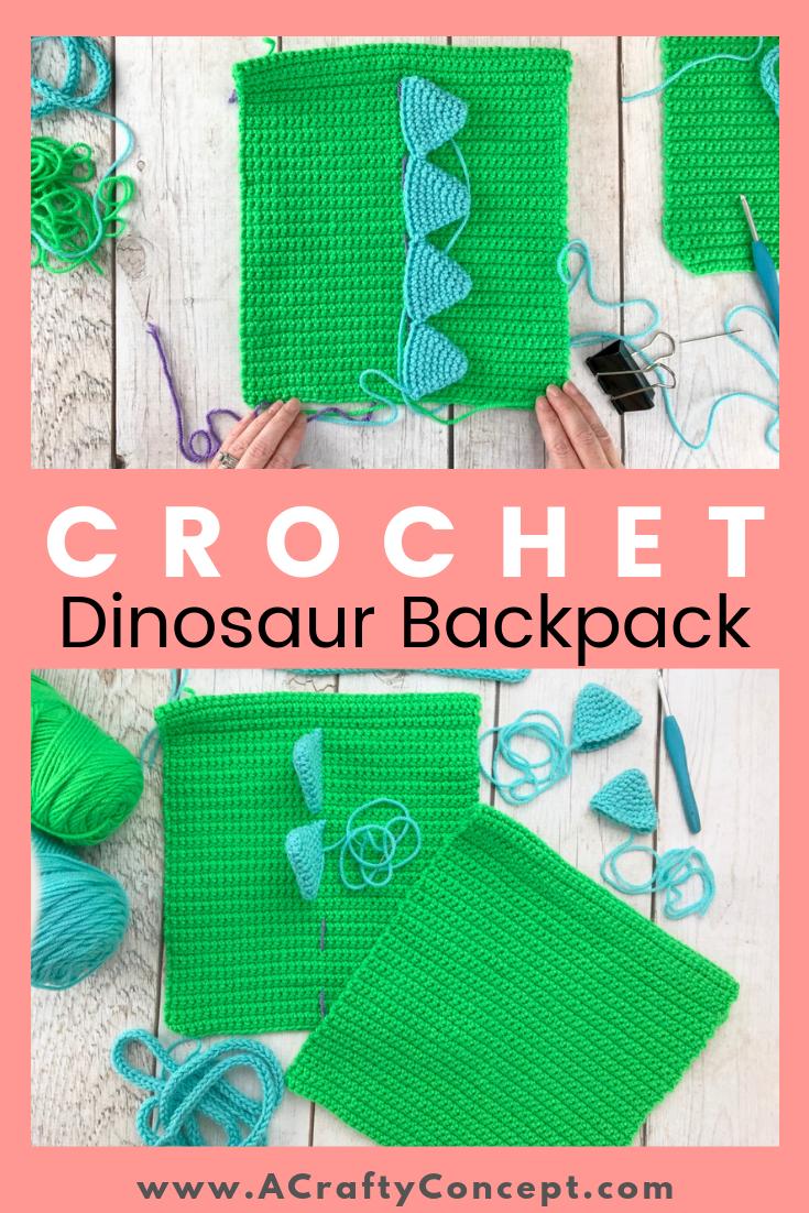 Easy Crochet Dinosaur Backpack- Simple Free Pattern With Video #crochetdinosaurpatterns