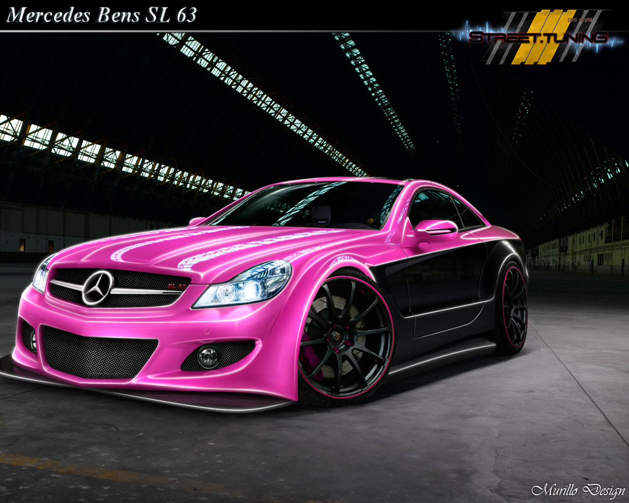 Pink black mercedes bens sl 63 hell yes i want it for Pink mercedes benz