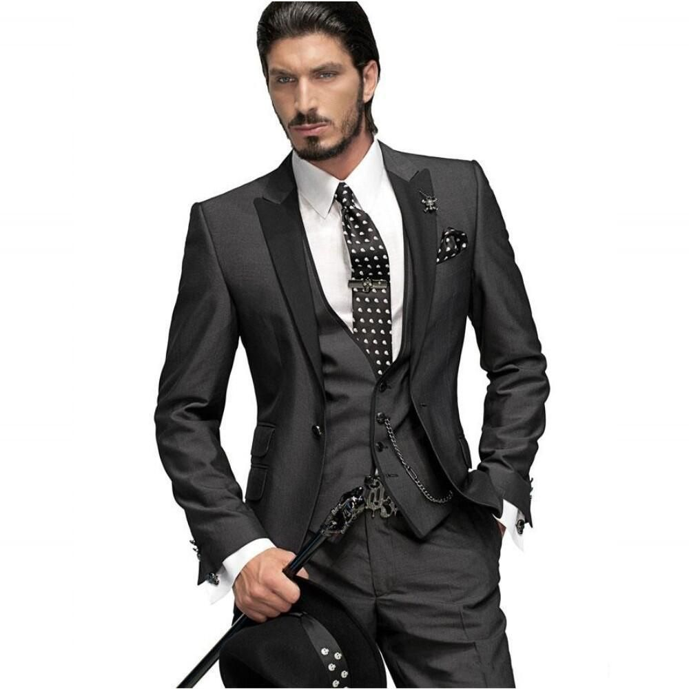 Latest Coat Pant Designs Black Italian Formal Custom Wedding Suits For Men Groom Dinner Prom Skinny 3 Pieces Masculino K6