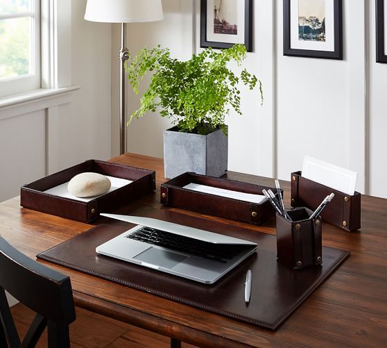 Saddle Leather Desk Accessories Set Of 5 Letter Tray