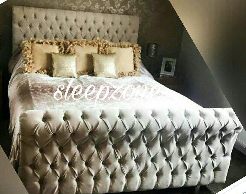 Sleigh Chesterfield Naple Bed Frame Kingsize Double Super King Mattress Sale