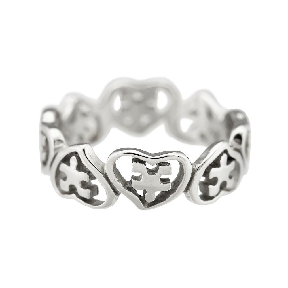 hearts puzzle pieces ring autism awareness