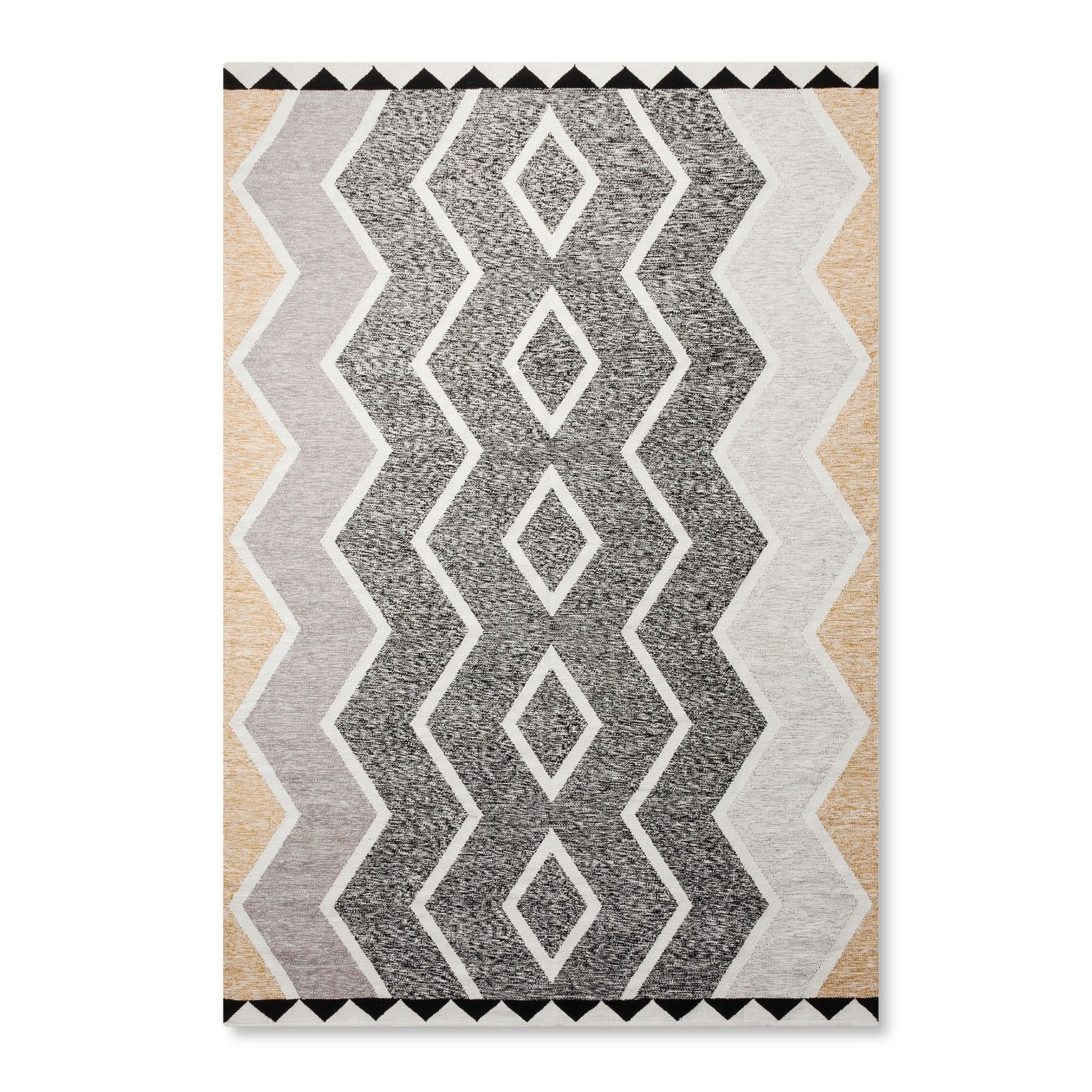 Chevron Diamonds And Triangles Make Great Compatriots In The Heathered Diamond Area Rug From Nate Berkus This Patterned Throw Mi Neutrals Ed