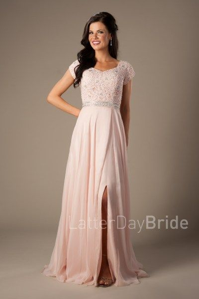 Modest Prom Styles for 2017 | LatterDayBride & Prom | SLC | Utah | Worldwide Shipping | Joyce | This stunning prom gown features a lace and beading patterned bodice, a thick sequined waistband, and an enchanting flowy skirt. Dress available in Blush. #modestprom