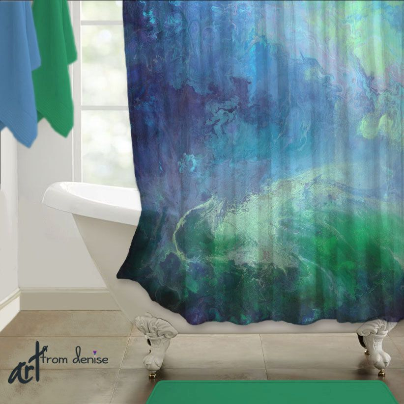 Emerald Green And Navy Blue Shower Curtain Master Bathroom Etsy Navy Blue Bathroom Decor Blue Bathroom Decor Navy Blue Shower Curtain