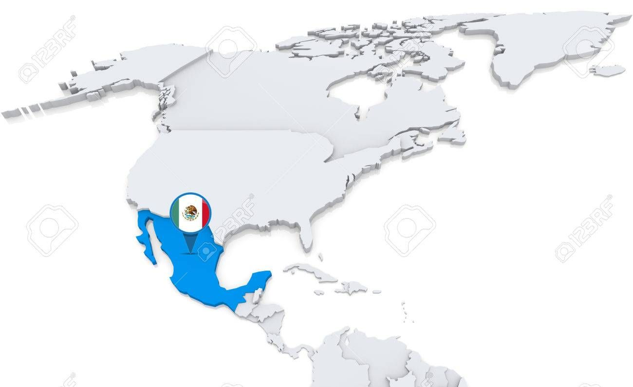 Highlighted Mexico On Map Of North America With National Flag Affiliate Map Mexico Highlighted North North America Map North America National Flag
