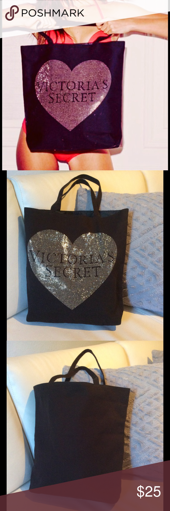 💕Victorias Secret Black Bling Heart Bag Angel 💕 Victorias Secret Black Bling Heart Tote Bag Angel Bags Totes