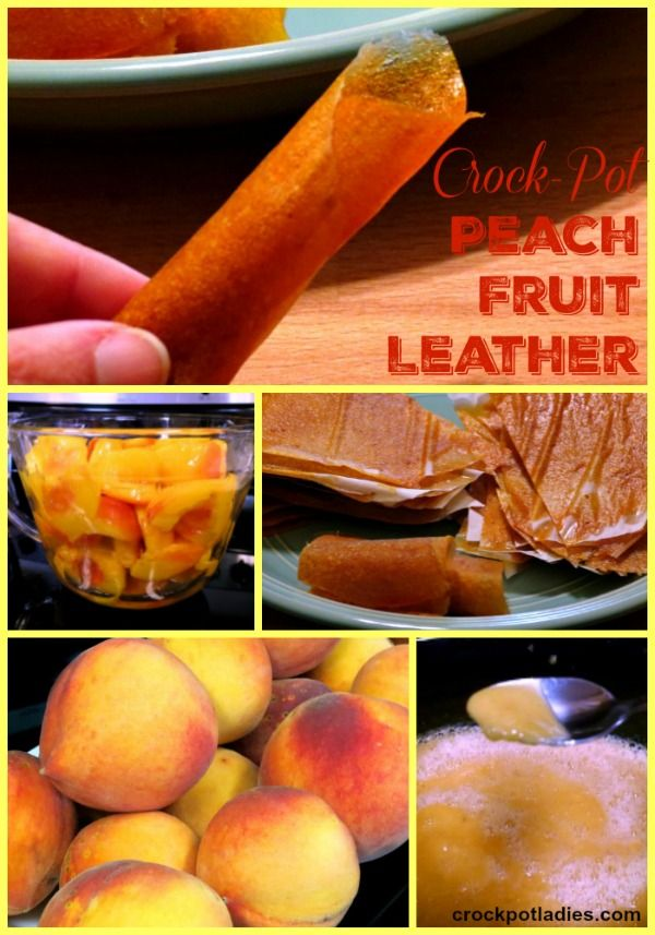 Crock-Pot Peach Fruit Leather Recipe - Let your slow cooker help cook fresh peaches into a easy fruit puree that you can then turn into healthy Crock-Pot Peach Fruit Leather using a food dehydrator with this fun recipe! | CrockPotLadies.com
