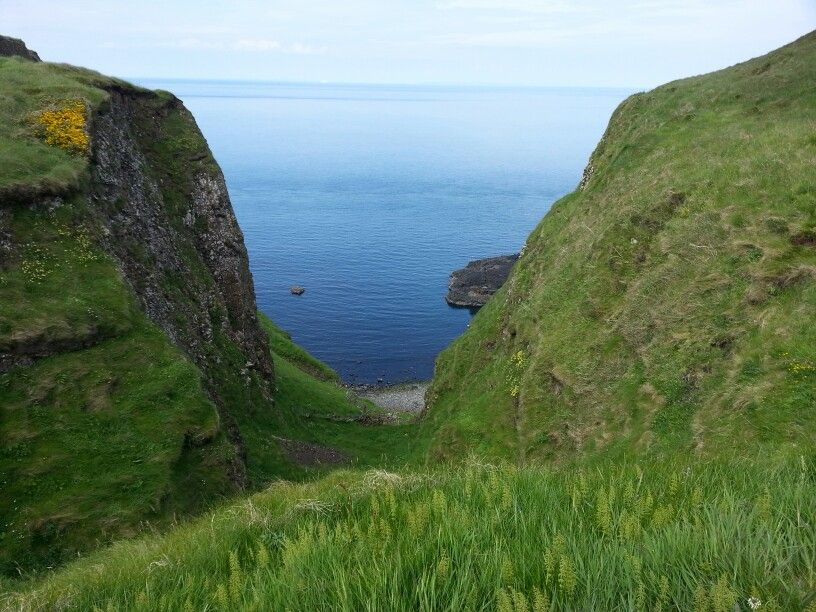 Beautiful coastal view, on the cliffside hike to Dunsverick Castle from Giant's Causeway.