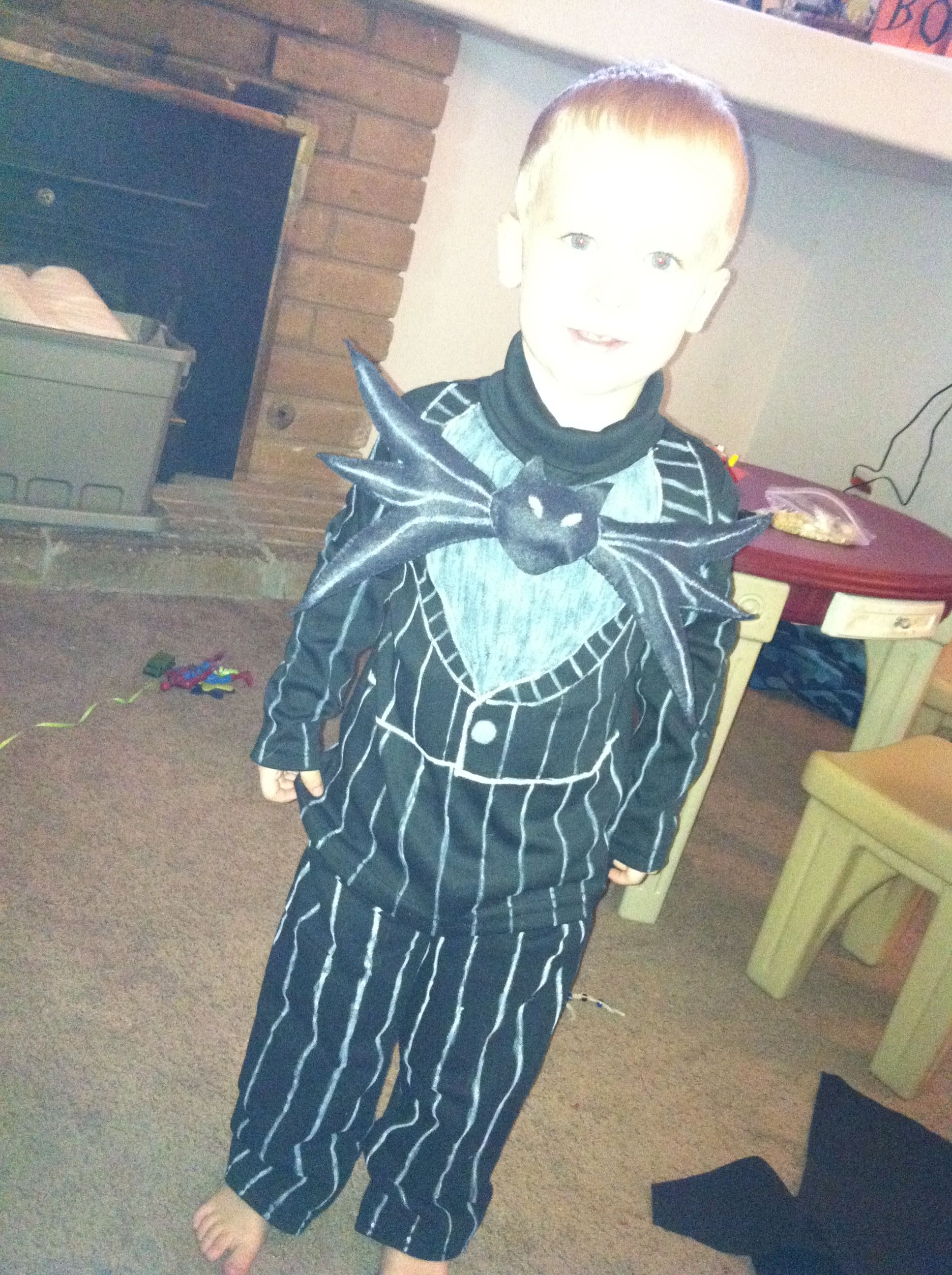 3c781b7b67 Jack Skellington DIY toddler costume for under  10! Really! Sweats from  Walmart and a