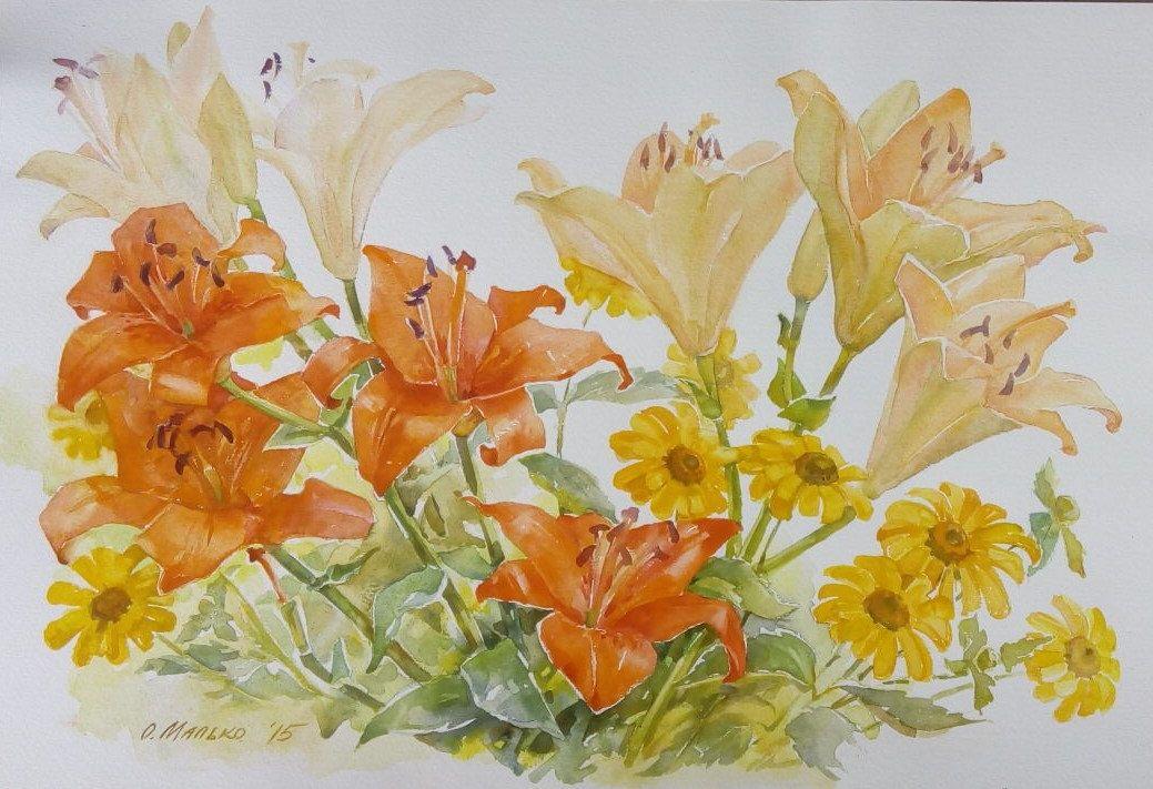 Lilies, 15x22in, orange yellow, garden flowers, summer flowers ...