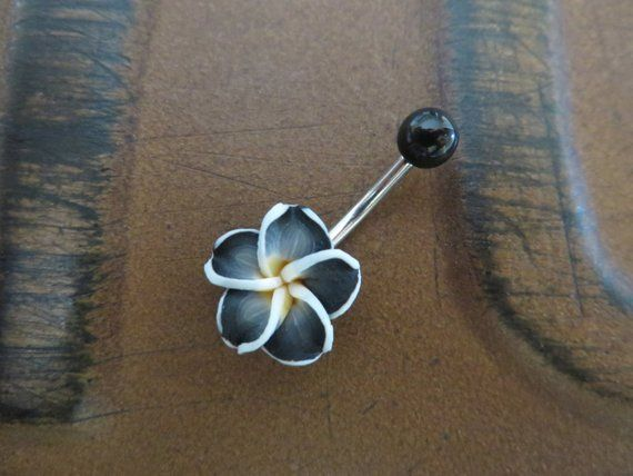 Belly Button Ring Black Hawaiian Flower Belly Button Jewelry