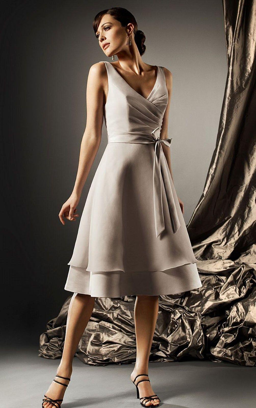 Satin chiffon natural sleeveless zipper deep vneck bridesmaid