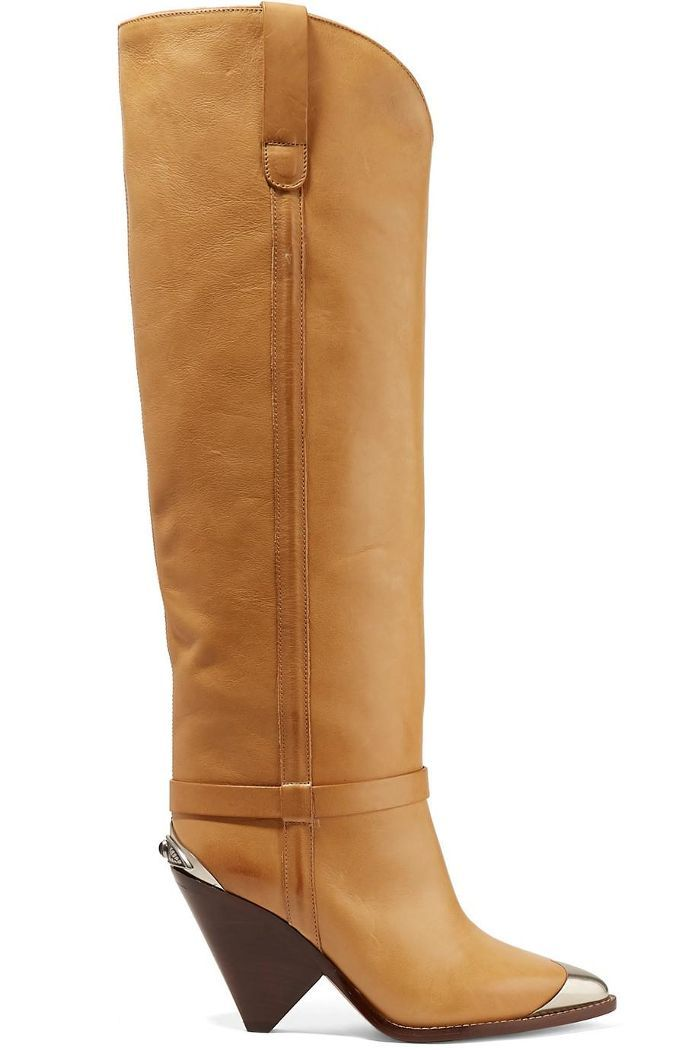 38aeeda35a2 Lenskee Metal-trimmed Leather Knee Boots. Isabel Marant ...