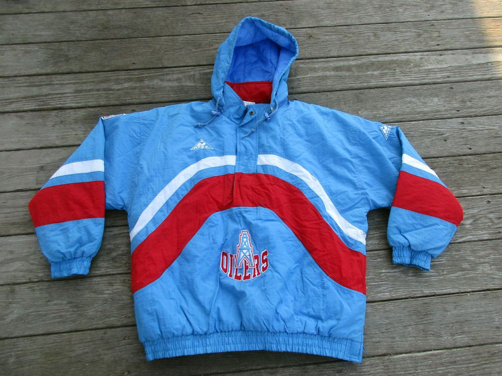 ef0d3232d Rare Vintage Houston Oilers NFL Pro Line Apex One Pullover Coat XL Jacket  Parka  ProLineApexOne  HoustonOilers