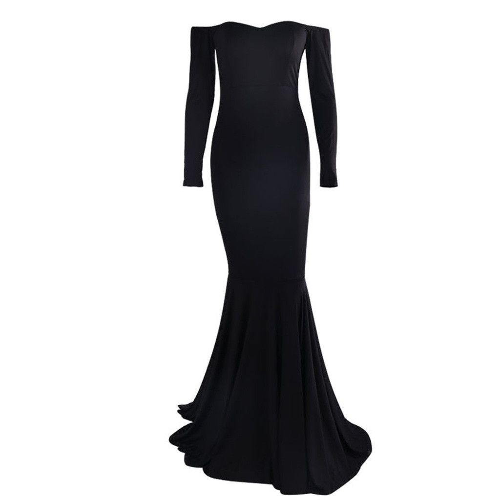 Plain black off shoulder gown products in pinterest