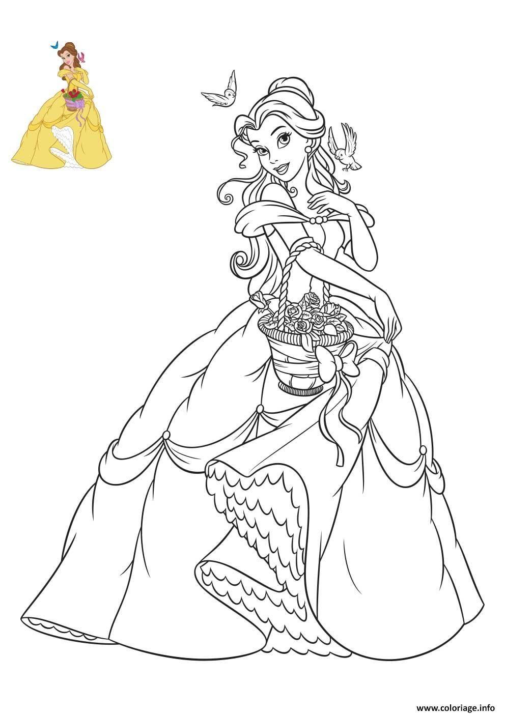 Coloriage Princesse Disney Belle à imprimer  Coloriage princesse