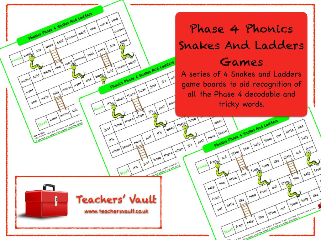 Phase 4 Phonics Snakes And Ladders Games